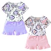 短袖套裝 小花蝴蝶結 短袖上衣 棉質短褲 女寶寶 套裝 嬰兒童裝 CK0462