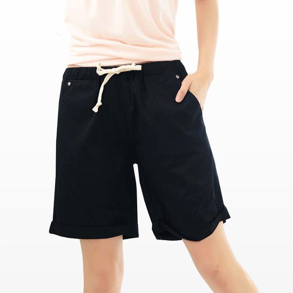短褲--必備休閒褲頭內條紋設計素色抽繩反折短褲(黑.粉.咖綠M-7L)-R109眼圈熊中大尺碼