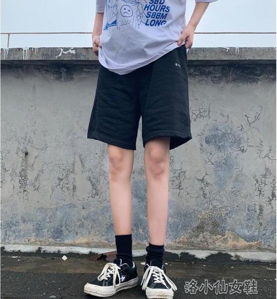 夏灰色五分褲女直筒港味寬鬆顯瘦百搭高腰闊腿休閒運動 洛小仙女鞋