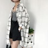襯衫格子襯衫女夏季韓版寬鬆百搭學生bf長袖中長款襯衣防曬衣薄外套 艾維朵