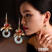 民族風復古長款耳環時尚鍍真金花朵耳墜手工氣質中國風宮廷耳飾女 Dn14081【艾菲爾女王】