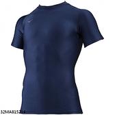 Mizuno BIOGEAR [32MA815214] 男款 圓領 短袖 緊身衣 吸汗 快乾 合身 彈性 美津濃 藍