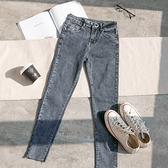 MUMU【P73182】超顯瘦。雙釦裝飾微彈牛仔褲。煙灰/黑