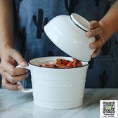泡麵碗 韓式湯碗簡約麵碗創意泡麵杯帶把手帶蓋飯碗家用陶瓷餐具套裝 宜品居家