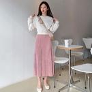 韓國製.甜美假兩件圓領收腰拼接皺褶長洋裝.白鳥麗子