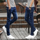 牛仔褲 夏季薄款男士牛仔褲男修身小腳褲韓版潮流百搭直筒褲子男長褲【果果新品】
