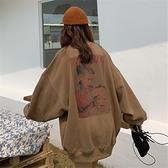 秋季新款韓版chic加厚寬鬆慵懶風中長款學生套頭衛衣女潮 快速出貨