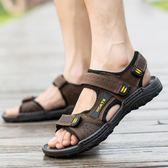 快速出貨-羅馬涼鞋2018新品夏季男涼鞋男皮質沙灘鞋男士涼鞋防滑軟底運動休閒涼拖鞋