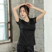 中大尺碼 女T恤網紗透氣晨跑寬松薄款健身套裝nm515【每日三C】