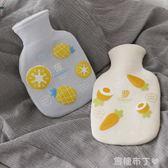 韓國隨身可愛注水熱水袋 迷你暖宮毛絨暖手寶小號學生橡膠暖水袋 焦糖布丁