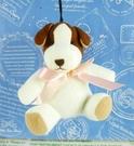 【震撼精品百貨】日本日式精品_狗DOG~絨毛鎖圈-小白狗-粉蝴蝶結
