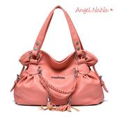 全館限時滿399超商免運費~側背包。韓版 花苞造型 編織 流蘇 女手提包(SBA0201) AngelNaNa