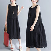 棉麻 文青風素色寬鬆背心洋裝 獨具衣格