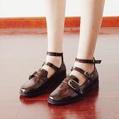 萬聖節狂歡   新款瑪麗珍鞋搭扣圓頭平跟單鞋森女學院風女鞋日系復古小皮鞋【居享優品】