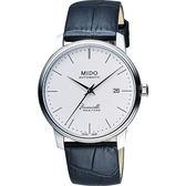 MIDO 美度 Baroncelli III Heritage 復刻經典機械手錶-白/41mm M0274071601000