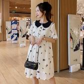 韓國孕婦夏裝2020新款短袖連身裙衣裙中長款寬松夏季潮媽氣質休閑網紅裙子洋裝【居享優品】