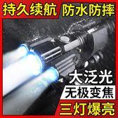 電動山地自行車燈前燈單車燈強光手電筒充電超亮夜騎行套裝備配件 潮流前線