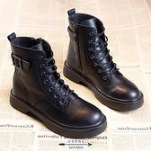 馬丁靴 女潮秋季新款網紅英倫風厚底黑色瘦瘦短靴春秋單靴 - 古梵希