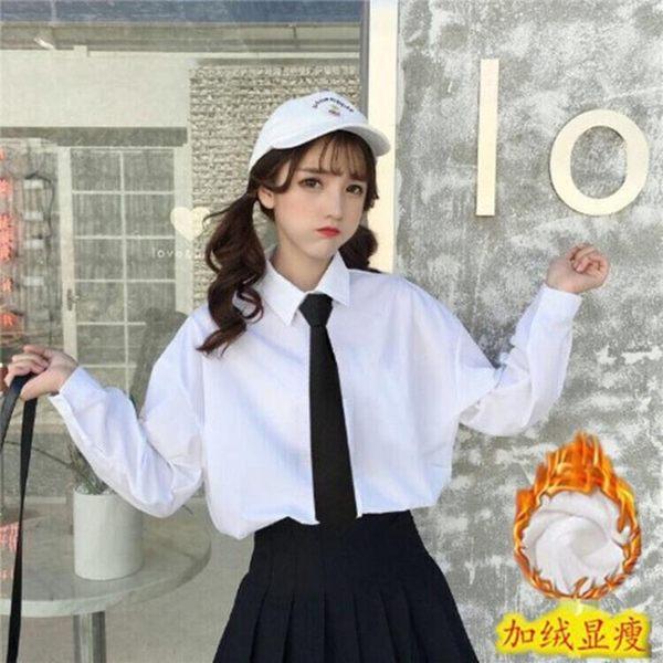 春秋新款洋氣領帶白襯衫女長袖韓版職業裝班服工作服襯衣打底衫