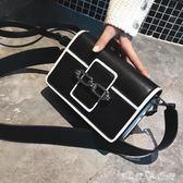 復古小包包女2018新款潮韓版 簡約百搭斜挎單肩寬肩帶時尚小方包「潔思米」