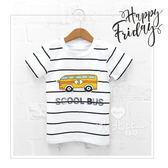 童趣立體拼布校車條紋短袖上衣 童裝 巴士 T恤 休閒 百搭 字母 韓版