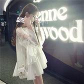 夏季寬鬆白色娃娃衫中長款V領蕾絲衫雪紡衫超仙喇叭袖上衣女    韓小姐