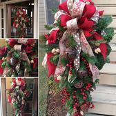 美式手作圣誕節裝飾品 創意圣誕藤條花環60cm酒店商場倒掛樹布置 露露日記