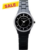 SKAGEN 超薄陶瓷晶鑽時尚腕錶/手錶-黑 347SBXBC