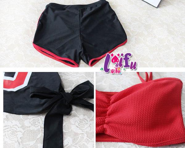 ★草魚妹★C679泳衣運動紅黑太陽隨風三件式泳衣游泳衣泳裝比基尼,售價880元