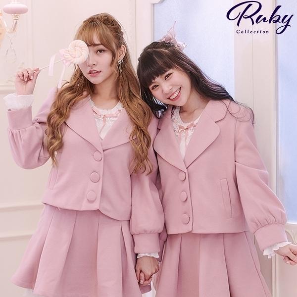 外套 Ruby x AKB48TeamTP設計•翻領毛呢外套-Ruby s 露比午茶