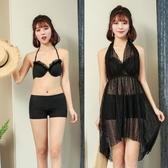 比基尼 新款黑色比基尼女三件套鋼托平角褲保守泡溫泉性感小香風游泳衣女 雙12狂歡