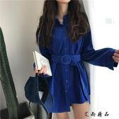 韓版不規則翻領寬鬆長袖襯衫裙