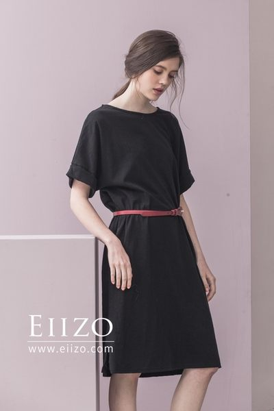 【EIIZO】休閒風棉質口袋洋裝(黑)