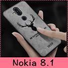 【萌萌噠】諾基亞 Nokia 8.1  經典復古布紋麋鹿保護套 全包磨砂絨布手感牛仔布紋 手機殼 手機套