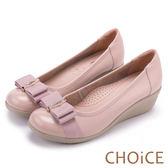 CHOiCE Q軟舒適優雅 閃耀蝴蝶結牛皮水鑽坡跟鞋-粉紅