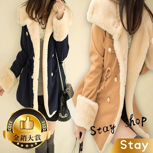 【Stay】韓版毛絨學院風翻領大衣外套 加厚版 修身顯瘦雙排扣 厚外套 羽絨外套 風衣 衣服【J59】