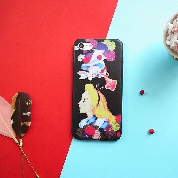 iPhone手機殼 可掛繩 花樣版愛麗絲兔子 浮雕矽膠軟殼 蘋果iPhone7/iPhone6 手機殼