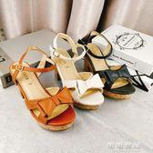 日系夏季涼鞋女粗跟防水台一字扣帶蝴蝶結簡約女涼鞋 可可鞋櫃
