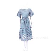 Max Mara-WEEKEND 藍綠色幾何圖騰荷葉寬袖綁腰連身裙 1920334-08