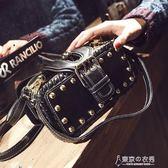小包包女韓版個性手提包鉚釘小方包港風復古單肩斜背包/側背包 東京衣秀