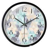 靜音無聲掛鐘客廳個性創意時尚現代簡約電池圓形玻璃時鐘掛墻表   米希美衣