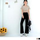 《BA5602》純色質感腰鬆緊修身纖細喇叭褲--適 XL~5L OrangeBear