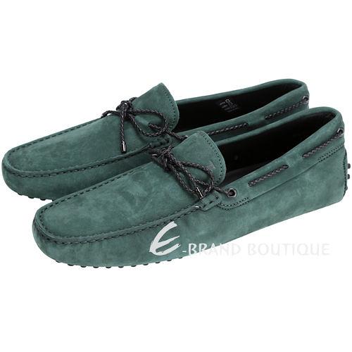TOD'S Gommino Driving 麂皮綁帶豆豆休閒鞋(綠色) 1510166-08