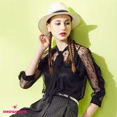 【SHOWCASE】唯美鏤空蕾絲二件式花邊袖襯衫(黑)