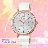 CASIO手錶專賣店 SHEEN SHE-3064PGL-7A 優雅三眼女錶 皮革錶帶 銀面 防水 SHE-3064PGL