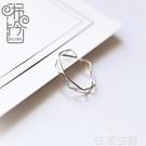 戒指 bling手作 潮人日韓個性鏤空食指戒指女細款純銀韓國開指戒指 雙12