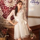 洋裝 透膚蕾絲桃心領綁帶七分袖洋裝-Ruby s 露比午茶