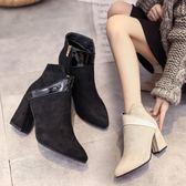 秋冬季馬丁靴日韓短靴女靴時尚粗跟中跟踝靴尖頭單靴女鞋 新主流旗艦店