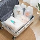 旅行多功能抽繩束口袋 卡通六件組 (三大三小) 行李箱衣物分裝袋