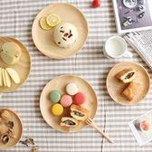 日式橡膠木圓盤木碟零食水果木盤點心盤